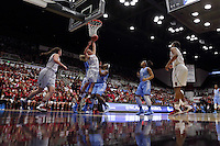 STANFORD, CA - April 1, 2014: Stanford's 75-64 victory over UNC in the Stanford Regional Final of the 2014 NCAA Women's Basketball Tournament at Maples Pavilion.