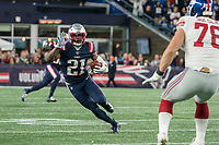 FOXBORO, MA - OCTOBER 10: Interception by New England Patriots Defensive back Duron Harmon (21) during a game between New York Giants and New England Patriots at Gillettes on October 10, 2019 in Foxboro, Massachusetts.