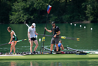 Lucerne, SWITZERLAND, 14th July 2018, SaturdayVrew's Boating from the Pontoons, , FISA World Cup III Lake Rotsee, © Peter SPURRIER,