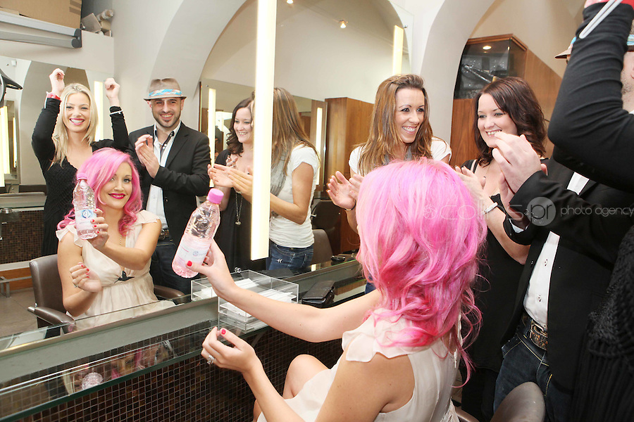 "NO REPRO FEE. 21/10/2010. Ballygowan Pink B Part of it campaign. DJ and artist Mo Kelly is pictured before unveiling her new pink hairstyle, which she will proudly wear in support of breast cancer awareness month as part of the Ballygowan Pink ""B Part of it"" campaign. Picture James Horan/Collins Photos"