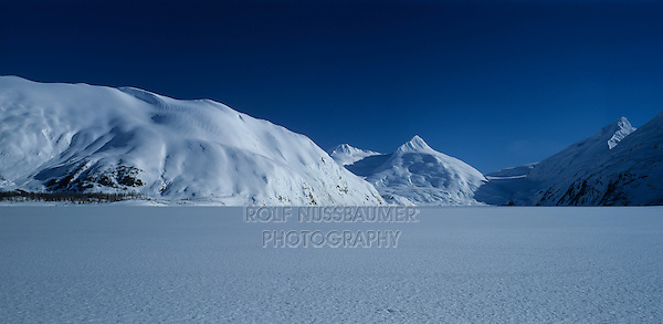 Portage Glacier and snow covered lake, Kenai Peninsula Borough, Alaska, USA