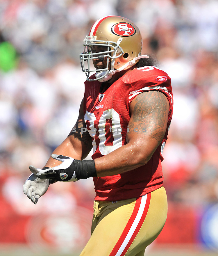 ISAAC SOPOAGA, of the  San Francisco 49ers, in action during the 49ers game against the Dallas Cowboys on September 18, 2011 at Candlestick Park in San Francisco, CA. The Cowboys beat the 49ers 27-24 in OT.