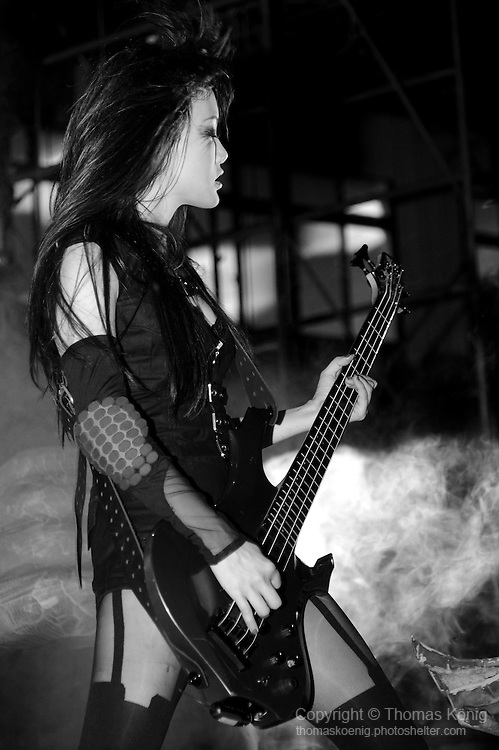 Puli, Taiwan -- Doris 'Thunder Tears' Yeh, bassist of the Taiwanese Black Metal band ChthoniC during the 'Final Battle at Sing Ling Temple' concert in Puli, Nantou county.