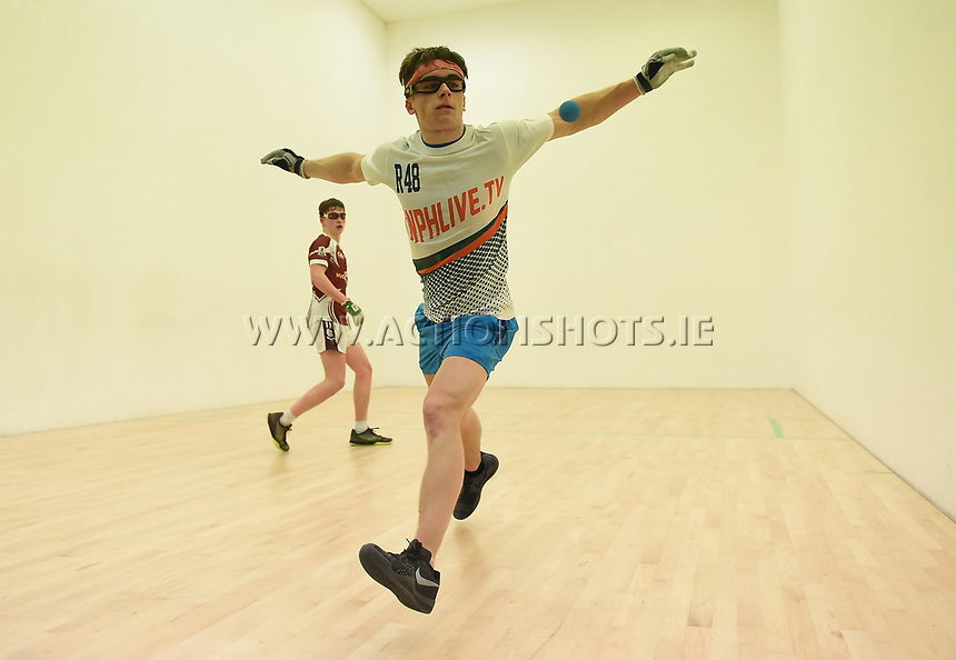 30/04/2017; 2017 40x20 Irish Junior National Handball Finals; Moycullen; Co Galway<br /> Boys 19 &amp; under &ndash; Final,  Diarmuid Mulkerrins (Galway) vs Sean Kerr (Tyrone)<br /> Photo Credit: actionshots.ie/Tommy Grealy