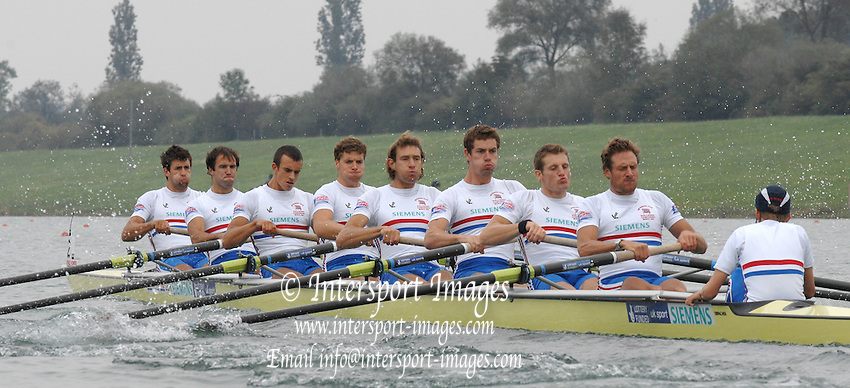 Munich, GERMANY, 31.08.2007,  GBR M8+ , Bow, Tom JAMES, Tom STALLARD, Tom LUCY, Tom SOLESBURY, Josh WEST, Richard EDINGTON, Robin BOURNE-TAYLOR, stroke Alastair HEATHCOTE and cox Acer NETHERCOTT, moving away from the start in their Semi Final. Sixth day, at the 2007 World Rowing Championships, taking place on the   Munich Olympic Regatta Course, Bavaria. [Mandatory Credit. Peter Spurrier/Intersport Images].... , Rowing Course, Olympic Regatta Rowing Course, Munich, GERMANY