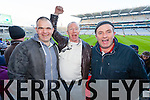 Johnny O'Sullivan, Jimmy Casey and Paul O'Grady Ardfert supporters at the Intermediate All Ireland Club Final in Croke Park on Saturday.