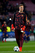 5th December 2017, Camp Nou, Barcelona, Spain; UEFA Champions League football, FC Barcelona versus Sporting Lisbon; Marc Andre Ter Stegen of FC Barcelona warm ups before the match