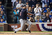 Cleveland Indians Mike Napoli (26) bats in the sixth inning during Game 3 of the Major League Baseball World Series against the Chicago Cubs on October 28, 2016 at Wrigley Field in Chicago, Illinois.  (Mike Janes/Four Seam Images)