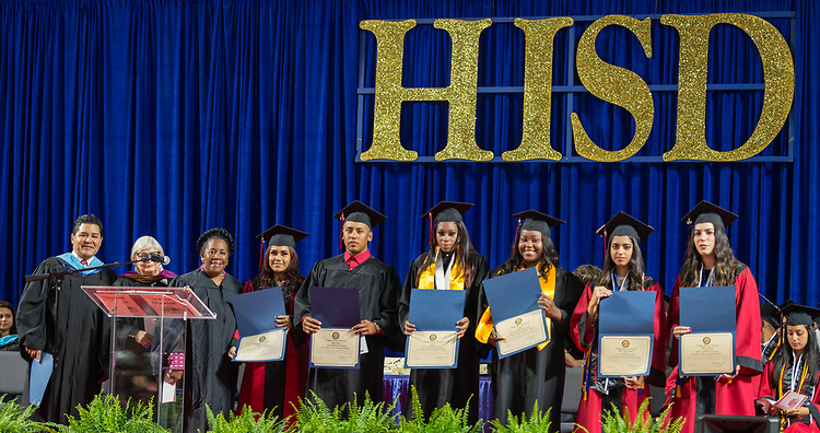 Congresswoman Sheila Jackson Lee honors students during the Furr / Reach High School graduation in Delmar Fieldhouse, May 26, 2017. The ceremony was the first graduation to be held in the newly constructed facility.