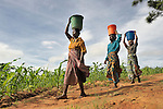 Women walk home with water they've obtained in a river in Matuli, Malawi. Throughout the world, women and girls often walk long distances in order to provide their families with water for washing, cooking, and drinking.