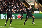 12th September 2017, Glasgow, Scotland; Champions League football, Glasgow Celtic versus Paris Saint Germain;  EDINSON CAVANI (psg) - 29 KYLIAN MBAPPE (psg) celebrate the penalty goal in 40th minute
