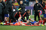 Atletico de Madrid's Gabi Fernandez (l) and Koke Resurrecccion before extra time during UEFA Champions League match. March 15,2016. (ALTERPHOTOS/Acero)