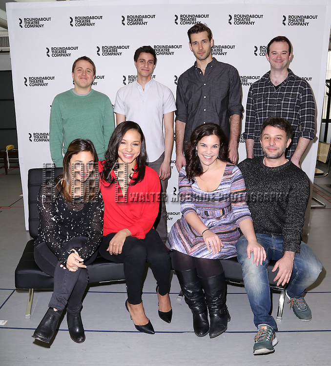 Joshua Harmon, Gideon Glick, John Behlman, Luke Smith, Sas Goldberg, Carra Patterson, Lindsay Mendez and Trip Cullman attend the cast photo call for 'Significant Other' at the Roundabout Theatre rehearsal hall on April 24, 2015 in New York City.