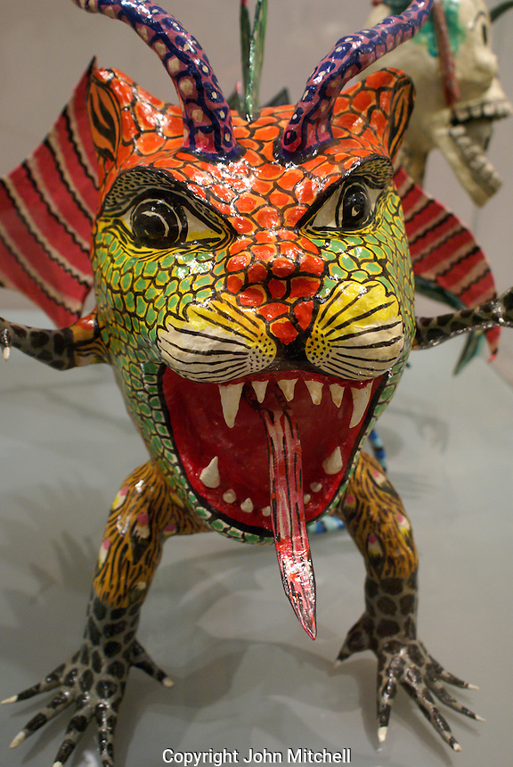 Fanciful papier mache sculpture in the Museum of Popular Art, Mexico City. The Museo de Arte Popular, which opened in 2006, showcases folk art from all of Mexico's 31 states.