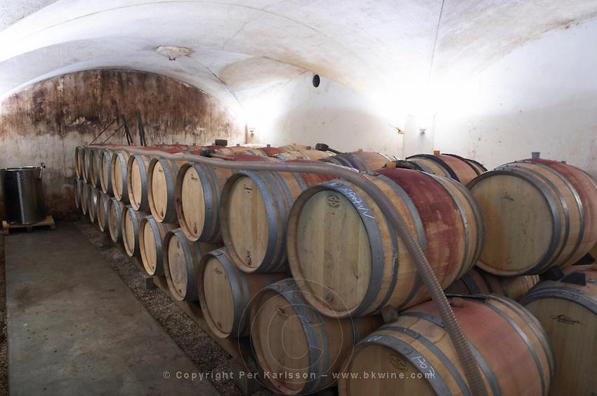 barrel aging cellar dom g amiot & f chassagne-montrachet cote de beaune burgundy france