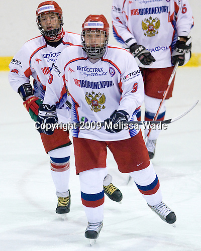 Alexander Burmistrov (Russia - 28), Vladimir Tarasenko (Russia - 9) - Team USA defeated Team Russia 6-1 in their second game during the 2009 USA Hockey National Junior Evaluation Camp on Wednesday, August 12, 2009, in the USA (NHL-sized) Rink in Lake Placid, New York.