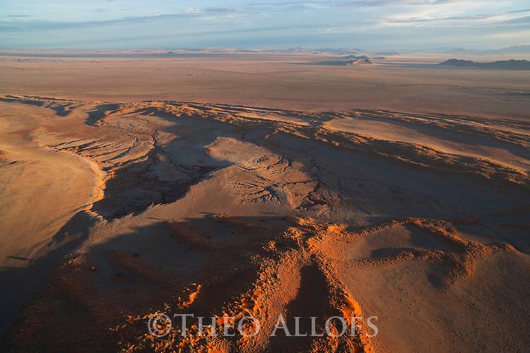Namibia, Namib Desert, aerial of eastern edge of Namib Desert