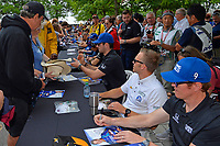 Verizon IndyCar Series<br /> Indianapolis 500 Drivers Meeting<br /> Indianapolis Motor Speedway, Indianapolis, IN USA<br /> Saturday 27 May 2017<br /> Driver's autograph session:  Alexander Rossi, Andretti Herta Autosport with Curb-Agajanian Honda, Ed Carpenter, Ed Carpenter Racing Chevrolet, Scott Dixon, Chip Ganassi Racing Teams Honda<br /> World Copyright: F. Peirce Williams