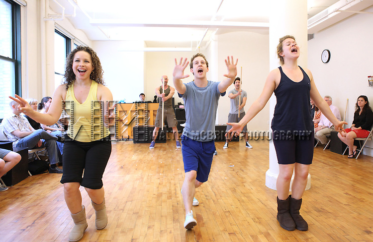 Shelley Thomas, Alex Wyse & Claire Neumann.with the cast from 'Triassic Parq The Musical'  during a Sneak Peek Rehearsal at the CAP21 Studios in New York City on 5/30/2012. © Walter McBride/WM Photography / Retna Ltd.