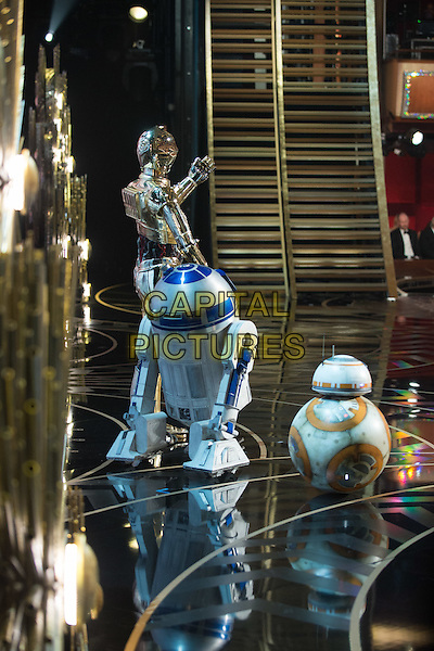 C-3PO, R2-D2, and BB-8 onstage during the live ABC Telecast of The 88th Oscars&reg; at the Dolby&reg; Theatre in Hollywood, CA on Sunday, February 28, 2016.<br /> *Editorial Use Only*<br /> CAP/PLF<br /> Supplied by Capital Pictures
