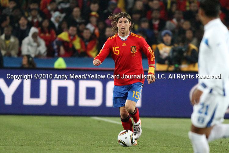 21 JUN 2010: Sergio Ramos (ESP). The Spain National Team defeated the Honduras National Team 2-0 at Ellis Park Stadium in Johannesburg, South Africa in a 2010 FIFA World Cup Group H match.