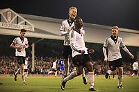 Moussa Dembele celebrates scoring Fulham's opening goal