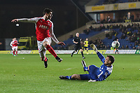 Bobby Grant of Fleetwood Town sees his shot saved by Simon Eastwood of Oxford United during the Sky Bet League 1 match between Oxford United and Fleetwood Town at the Kassam Stadium, Oxford, England on 10 April 2018. Photo by David Horn.