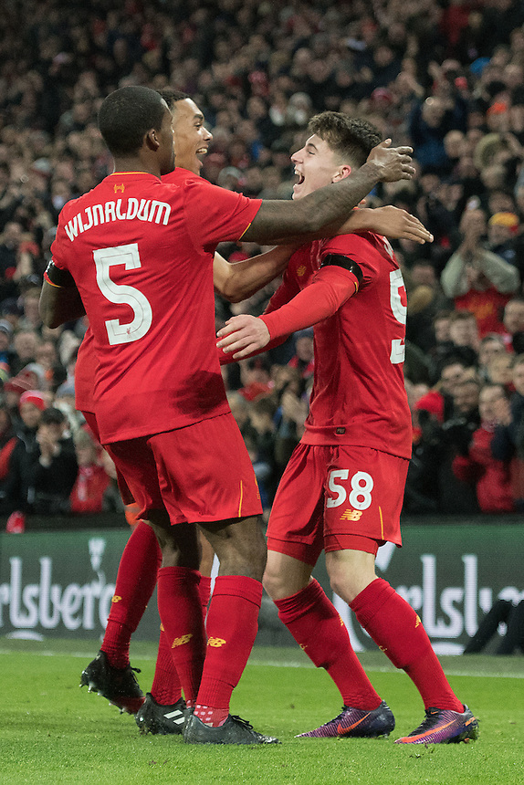 Photographer Terry Donnelly/CameraSport<br /> <br /> The EFL Cup Quarter-Final  - Liverpool v Leeds  - Tuesday 29th November 2016 - Anfield - Liverpool<br />  <br /> World Copyright &copy; 2016 CameraSport. All rights reserved. 43 Linden Ave. Countesthorpe. Leicester. England. LE8 5PG - Tel: +44 (0) 116 277 4147 - admin@camerasport.com - www.camerasport.com