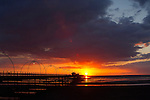 Southport - pier, waterfront, Marine Way Bridge, sunset, beach