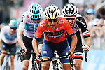 Domenico Pozzovivo (ITA) Bahrain-Merida, Tom Dumoulin (NED) Team Sunweb and Chris Froome (GBR) Team Sky cross the finish line at the end of Stage 18 of the 2018 Giro d'Italia, running 196km from Abbiategrasso to Prato Nevoso, Italy. 24th May 2018.<br /> Picture: LaPresse/Gian Mattia D'Alberto | Cyclefile<br /> <br /> <br /> All photos usage must carry mandatory copyright credit (&copy; Cyclefile | LaPresse/Gian Mattia D'Alberto)
