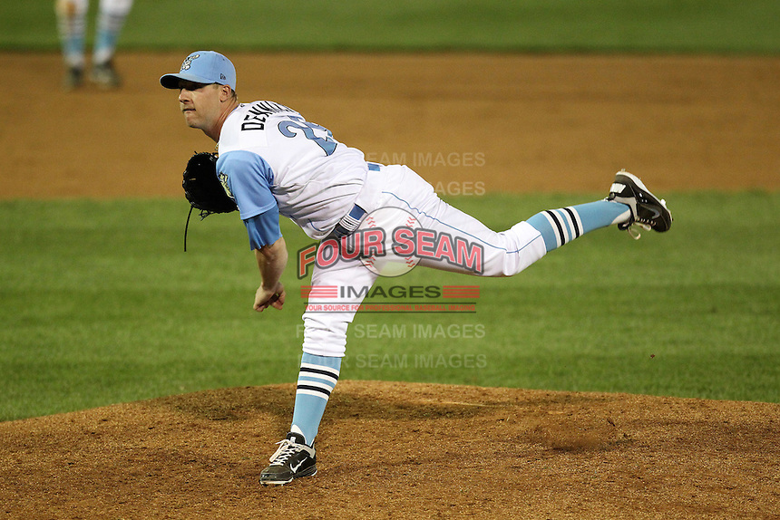 Wilmington Blue Rocks relief pitcher Ryan Dennick #29 delivers a pitch during a game against the Lynchburg Hillcats at Frawley Stadium on May 3, 2011 in Wilmington, Delaware.  Lynchburg defeated Wilmington by the score of 11-1.  Photo By Mike Janes/Four Seam Images
