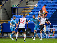 Bolton Wanderers' Liam Edwards (2nd left) heads clear in defence<br /> <br /> Photographer Andrew Kearns/CameraSport<br /> <br /> The EFL Sky Bet Championship - Bolton Wanderers v Coventry City - Saturday 10th August 2019 - University of Bolton Stadium - Bolton<br /> <br /> World Copyright © 2019 CameraSport. All rights reserved. 43 Linden Ave. Countesthorpe. Leicester. England. LE8 5PG - Tel: +44 (0) 116 277 4147 - admin@camerasport.com - www.camerasport.com