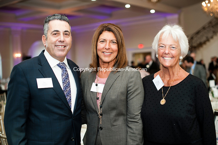 PROSPECT, CT-23 April 2014-042314EC14-  Social Moments. The United Way held its 28th annual Community Leaders Dinner at Aria Wedding and Banquet Facility in Prospect. From L to R: Joe Gugliotti with Worx, Sandra Vigliotti Senich with US Trust and Marie Hopkins with Wesson Energy. Erin Covey Republican-American