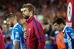 League Santander 2017/2018. Game: 03.<br /> FC Barcelona vs RCD Espanyol: 5-0.<br /> Gerard Pique.