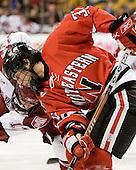 Rob Rassey (NU - 37) - The Northeastern University Huskies defeated the Harvard University Crimson 3-1 in the Beanpot consolation game on Monday, February 12, 2007, at TD Banknorth Garden in Boston, Massachusetts.