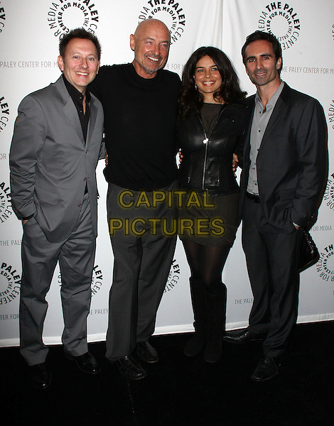 MICHAEL EMERSON, TERRY O'QUINN,    ZULEIHKA ROBINSON & NESTER CARBONELL.27th Annual PaleyFest Presents the television show 'Lost' held At The Saban Theatre, Beverly Hills, California, USA, 27th February 2010..arrivals full length black tie glasses grey gray suit shirt leather jacket knee high boots trousers top sweater jumper .CAP/ADM/KB.©Kevan Brooks/Admedia/Capital Pictures