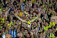 Shirtless Phoenix fans celebrate during the A-League football match between Wellington Phoenix and Newcastle Jets at Westpac Stadium in Wellington, New Zealand on Saturday, 30 March 2019. Photo: Dave Lintott / lintottphoto.co.nz