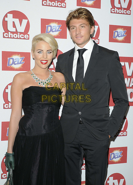 Lydia Rose Bright & Tom Kilbey.The TV Choice Awards at the Dorchester Hotel, Park Lane, London, England..September 10th 2012.half length black strapless dress green gloves diamond necklace suit couple  .CAP/CAN.©Can Nguyen/Capital Pictures.