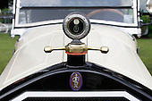 """This cream 1927 Stearns Knight sports a Boyce Motormeter in chrome and gold above the """"knight"""" emblem decorating the top of the grill. Car photographed at the 2010 Wings 'n' Wheels Showcase, Galway, New York."""