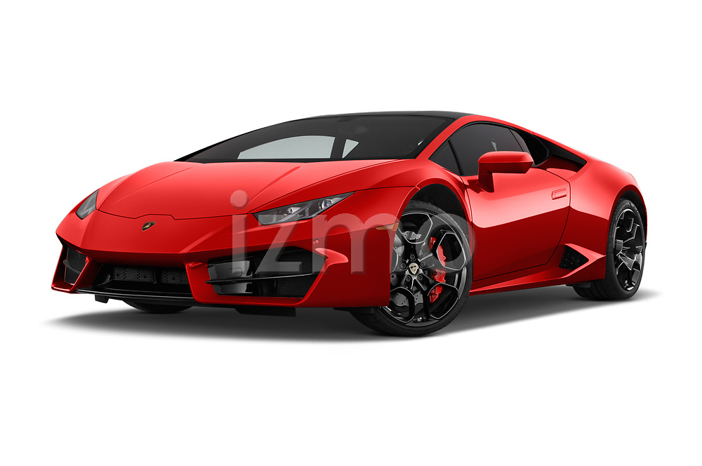 Stock pictures of low aggressive front three quarter view of 2017 Lamborghini Huracan 580 2 Door Coupe Low Aggressive