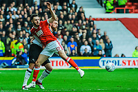 Derby County's defender Richard Keogh (6) challenges Nottingham Forest's forward Ben Brereton (17) during the Sky Bet Championship match between Nottingham Forest and Derby County at the City Ground, Nottingham, England on 10 March 2018. Photo by Stephen Buckley / PRiME Media Images.