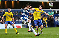 Leeds United's Jack Harrison competing with Queens Park Rangers'  Grant Hall<br /> <br /> Photographer Andrew Kearns/CameraSport<br /> <br /> The Emirates FA Cup Third Round - Queens Park Rangers v Leeds United - Sunday 6th January 2019 - Loftus Road - London<br />  <br /> World Copyright &copy; 2019 CameraSport. All rights reserved. 43 Linden Ave. Countesthorpe. Leicester. England. LE8 5PG - Tel: +44 (0) 116 277 4147 - admin@camerasport.com - www.camerasport.com