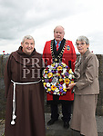 Mayor of Drogheda Frank Godfrey with Sr Anne Spratt and Br. Isadore at the wreath laying cermony at Millmount to celebrate Drogheda Day. Photo:Colin Bell/pressphotos.ie