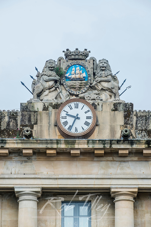 Spain, San Sebastian, Plaza de la Constitucion, City Seal Over Former City Hall