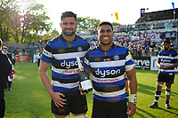 Elliott Stooke and Cooper Vuna of Bath Rugby pose with a Pol Roger bottle of champagne after the match. Aviva Premiership match, between Bath Rugby and London Irish on May 5, 2018 at the Recreation Ground in Bath, England. Photo by: Patrick Khachfe / Onside Images