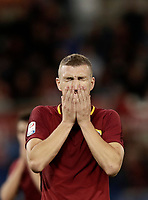 Calcio, Serie A: Roma, stadio Olimpico, 25 ottobre 2017.<br /> Roma's Edin Dzeko reacts during the Italian Serie A football match between AS Roma and Crotone at Rome's Olympic stadium, October 25, 2017.<br /> UPDATE IMAGES PRESS/Isabella Bonotto