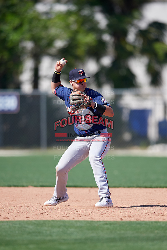 Minnesota Twins Jose Miranda (24) during a Minor League Spring Training game against the Tampa Bay Rays on March 15, 2018 at CenturyLink Sports Complex in Fort Myers, Florida.  (Mike Janes/Four Seam Images)