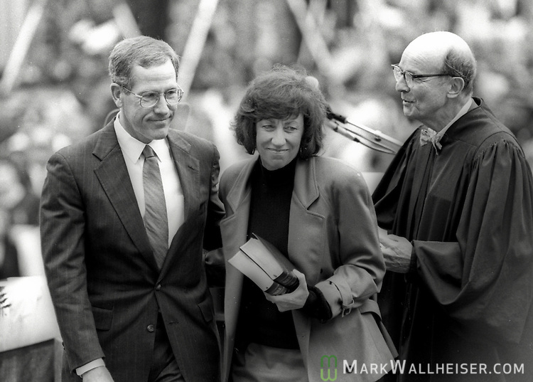 Florida Attorney General Jim Smith under 41st Governor Lawton Chiles after being sworn in on January 7, 1991 in front of the historic Florida Capitol in Tallahassee, Florida.