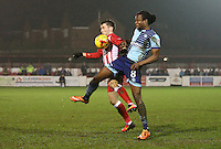 Shay McCartan of Accrington Stanley and Marcus Bean of Wycombe Wanderers <br /> during the Sky Bet League 2 match between Accrington Stanley and Wycombe Wanderers at the wham stadium, Accrington, England on 28 February 2017. Photo by Tony  KIPAX.
