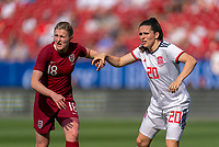 FRISCO, TX - MARCH 11: Ellen White #18 of England is defended by Andrea Pereira #20 of Spain during a game between England and Spain at Toyota Stadium on March 11, 2020 in Frisco, Texas.
